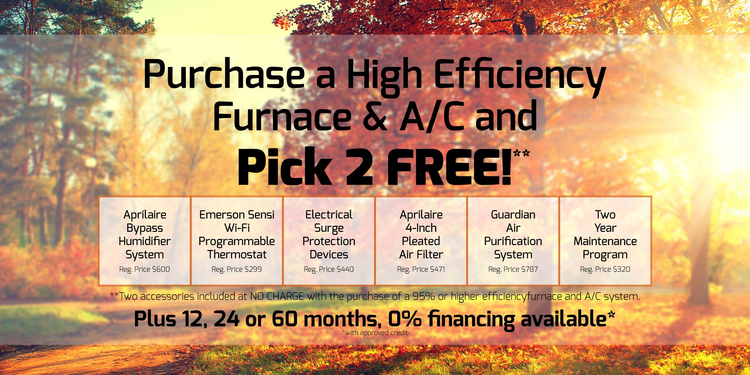 Pick 2 Accessories with a 95% or higher effciency furnace and A/C system!